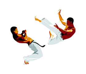 Capoeira fighters kick and defense isolated