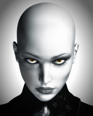 Photo-realistic Illustration of Beautiful Bald Futuristic Woman
