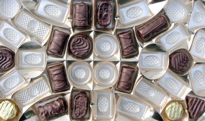 chocolate pralines in packaging