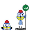 Comical construction workers with go sign