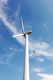 Wind turbines on hight sky poster