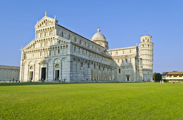Duomo and Leaning Tower in Piazza dei Miracoli in Pisa