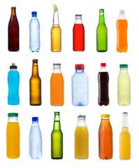 various bottles on white background