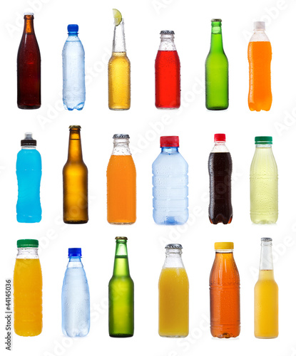 various bottles on white background