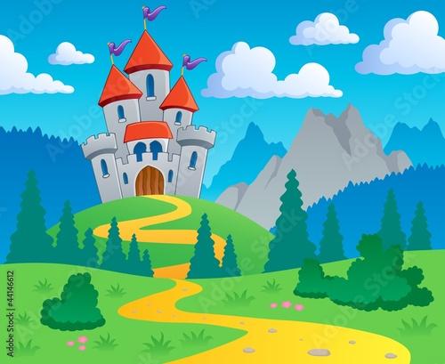 Deurstickers Kasteel Castle theme landscape 1