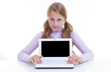 Schoolgirl with her white netbook