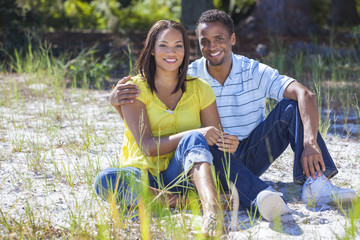 African American Woman & Man Couple Outside