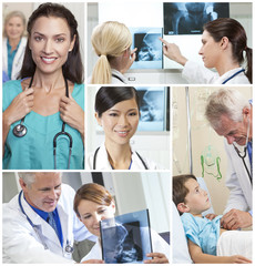Medical Montage Men Women and Patients in Hospital