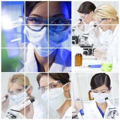 Medical Science Research Montage of Women in Laboratory