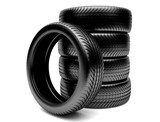 3d tires isolated on white background