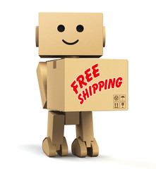 "cardboard robot carrying a box with ""free shipping"" text"