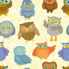 Vector seamless pattern with cute bright owls