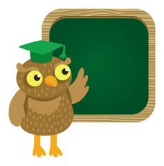 Vector cute owl with school board