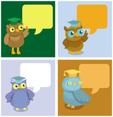 Vector cute owl with speech bubbles