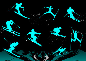 Skiers at night, vector file