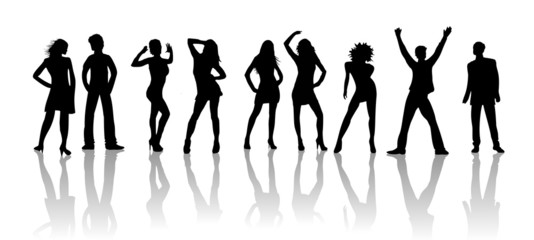 Silhouette - Tanzende junge Menschen