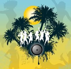 Junge Menschen feiern - Beachparty unter Palmen