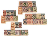 goals, efforts, results, feeling good