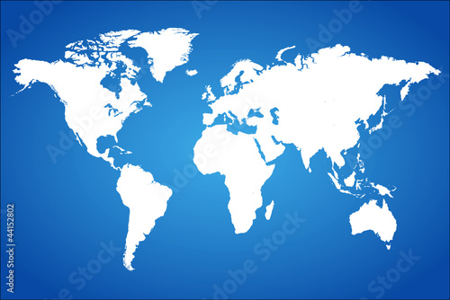 Blue World Map Vector Illustration