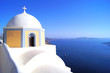 Church overlooking the blue sea, Santorini, Greece