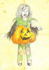 halloween costume, pumpkin