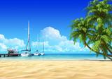 Fototapety Marina pier and palms on empty idyllic tropical sand beach.