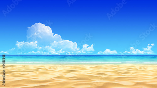 Fototapeta Idyllic tropical sand beach background.