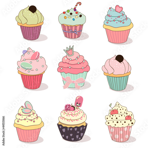 Wall mural illustration of isolated set of cupcake on white