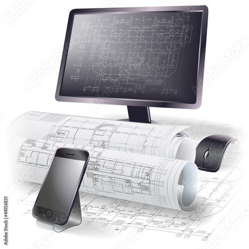 Architectural background with a monitor and rolls of drawings