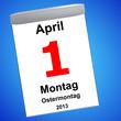Kalender auf blau - 01.04.2013 - Ostermontag