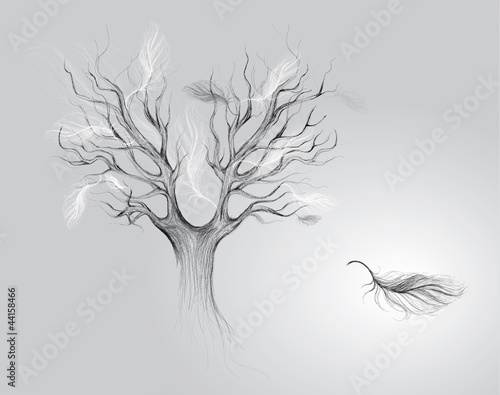 Autumn of life: Tree with falling feathers / Surreal sketch