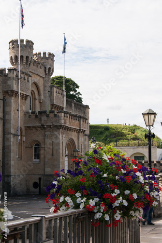 Oxford castle with foreground flowers