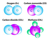molecules Methane, Oxygen, Carbon monoxide