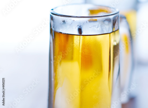 beer mug closeup with selective focus.