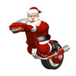 Santa Riding Futuristic Monocycle