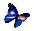 Marshall Islands flag butterfly flying, isolated on white backgr