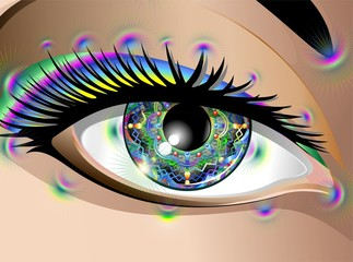 Hypnotic Psychedelic Mandala Eye-Occhio Mandala-Vector