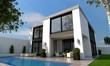 Leinwanddruck Bild - Villa mit Pool
