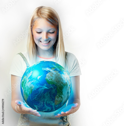 Girl holding the Planet Earth