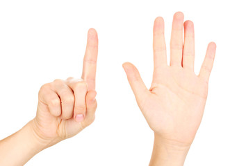 Hands making signs isolated on white