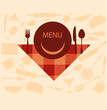restaurant menu design with smiley on plate, illustration