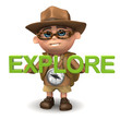 "3d Explorer with the word ""Explore"""