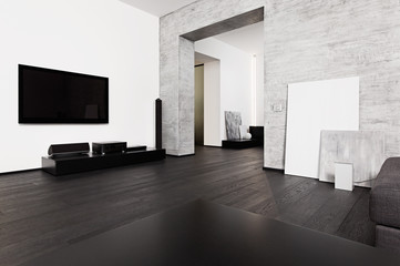 Modern minimalism style drawing-room interior in black