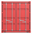 Cargo Container Front. Red. Closed Doors. Front view.
