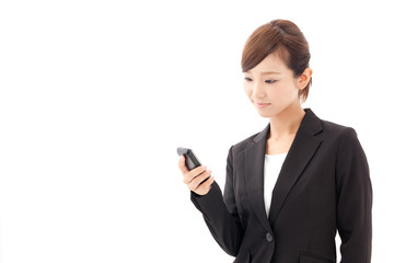 a young businesswoman using smart phone