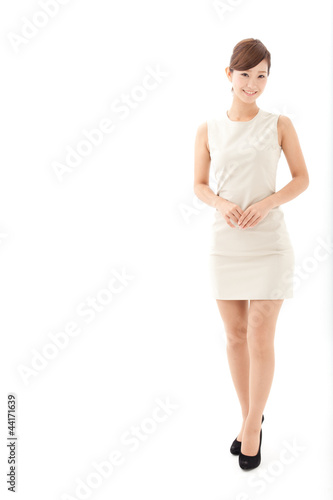 a young businesswoman on white background
