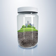 City inside a glass jar