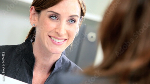 Female Business Consultant Working Client Presentation