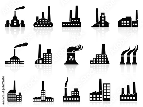 black factory icons set