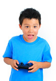 Boy with Smiley Face Happy Playing Game Holding a Controller